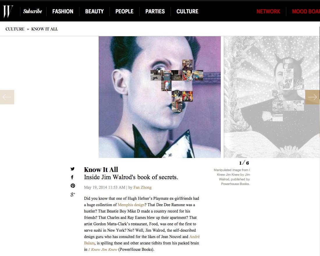 W Magazine on I Knew Jim Knew